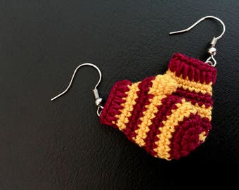 Mitten Earrings - Scarlet and Gold