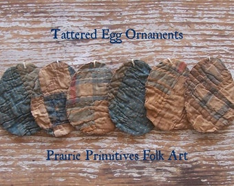 6 Rustic Egg Ornaments, Tattered Eggs, Antique Quilt Eggs, Primitive Eggs Easter Decor, Blue White Polkadots Plaid Patchwork - READY TO SHIP