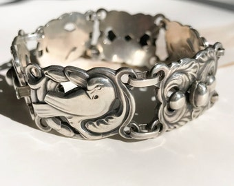 Rare vintage 1940's dove and leaf sterling silver bracelet | Norseland Coro | Native American style | repousse love bracelet | bird jewelry