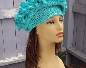 Turquoise Handmade Cloche Hats 1920s, Spring Womens Hat, Winter Hats, Floppy Crochet Hat, 1920s Headpiece, Mad Hatter Tea Party Hat