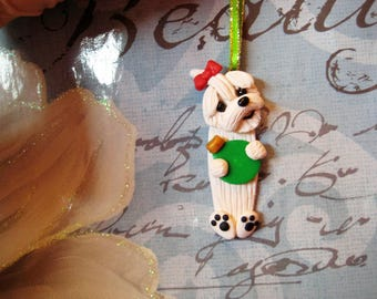 Maltese dog ornament, Christmas, tree, OOAK, handmade, clay, pawsnclaws, whimsical, gift, dog, puppy