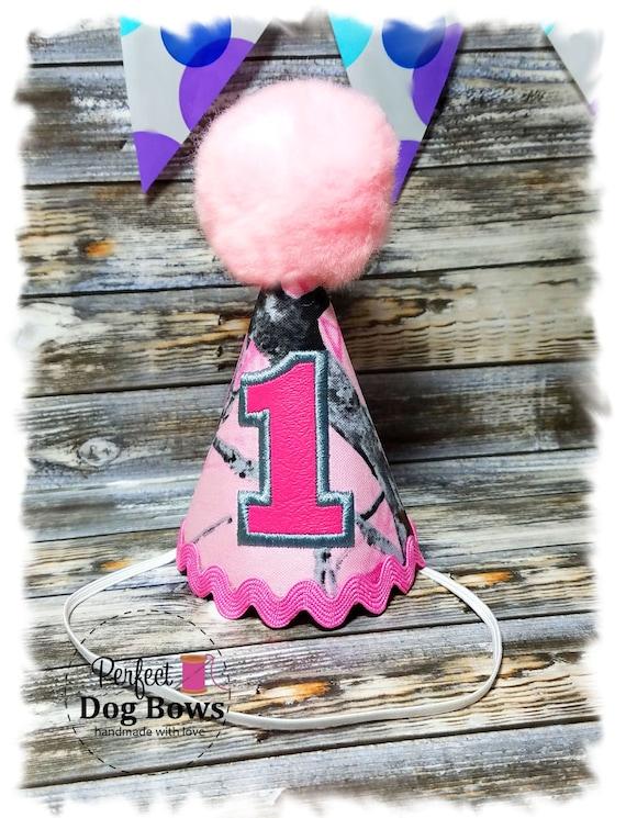 Dog Birthday Hat, Pink Camo Party Hat, Dogs First Birthday, Camo Fabric, Party Hat, Birthday Girl, Pink Pom Pom