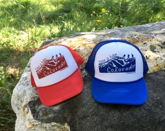 take a hike COLORADO - blue adult trucker hat mesh