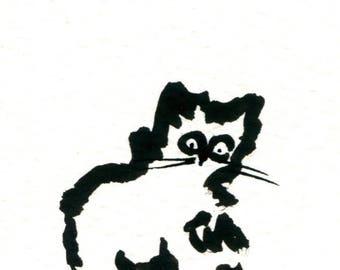 Original Black Cat Gouache Painting ACEO number 171
