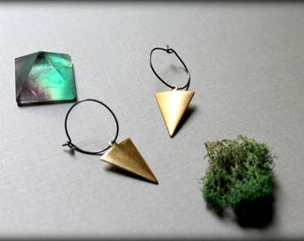 Brass Triangle Earrings, Minimalist Brass Earrings, Geometric Earrings, Oxidized Hoop Earrings