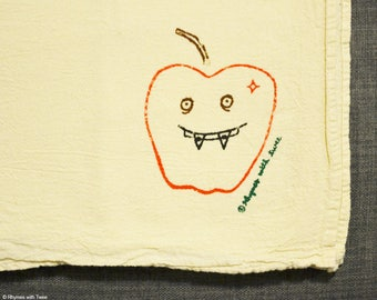 Apple with Braces Kitchen Towel, Eileen Apple Fanged Fruit
