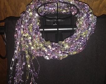 Multi-Strand Trellis Ribbon Scarflette. Lime Green and Lavender, Ladder Yarn, Trellis Yarn