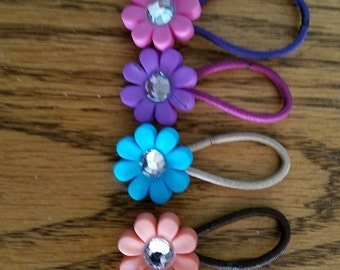 Flower Ponytail Holders with Coated Band, Pigtail Holders, Ponytail Holders