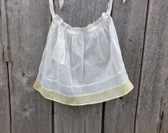 Vintage Sheer White Yellow & Blue Apron with Pocket, Kitchen Hostess Half Apron, Maid Costume