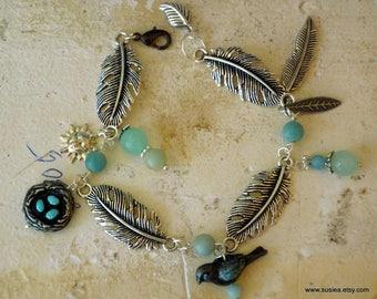 Feather Bird Nest Amazonite Bead Linked Bracelet
