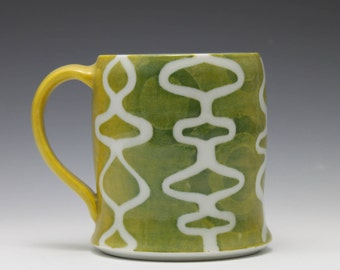 Green and Yellow Mid Mod Graphic Porcelain Mug Cup