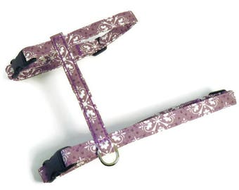 Cat Harness - Mauve Damask - Cute, Soft and Fancy for Cats and Kittens