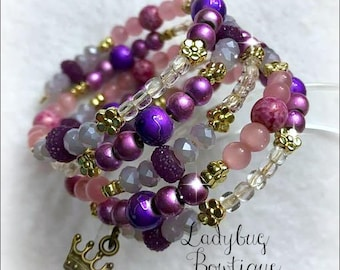 Rapunzel-inspired Wraparound Bracelet Memory Wire Disney Princess Girl or Adult ~ Pink and Purple