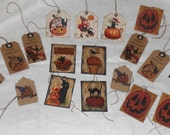 20 Primitive Rustic Folk Art Halloween Pumpkin JOL Black Cat Fall Seasonal Assorted Hang Tags Vendor Gift Ties Crafts Trick or Treat  Bags