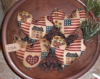 Set of 4 Primitive Grungy Rustic Red White and Blue LOVE USA Freedom Hearts Americana July 4 Heart Shaped Bowl Fillers - Ornies - Tucks -