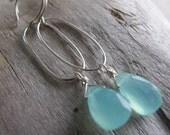 Pale Blue Chalcedony Earrings, Sterling Silver Dangles, Silver Oval Hoops
