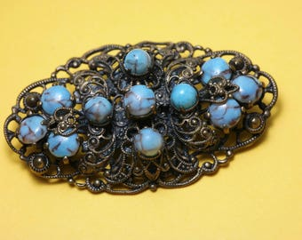 Vintage/ estate 1940s Czech style, brass filigree and turquoise glass, costume brooch/ pin - jewelry jewellery
