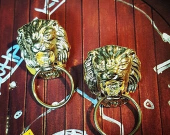 Lion Door Knocker Stud Earrings