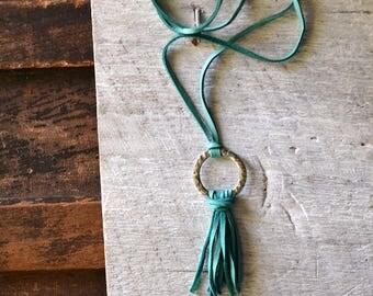 Mermaid Tassel Necklace - Aqua Leather Tassel Necklace - Aqua Tassel Necklace - Silver Tassel Necklace - Aqua Fringe Leather Necklace