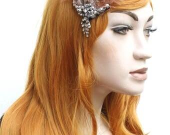 Diamante Beaded Natural Brown Feather Floral Gatsby Boho Fascinator Hair Clip