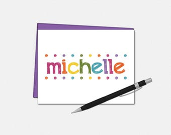Personalized Note Cards - Personalized Colorful Lights Note Cards - Note Cards for Her - Set of 10 - Folded Note Cards - Stationery for Her
