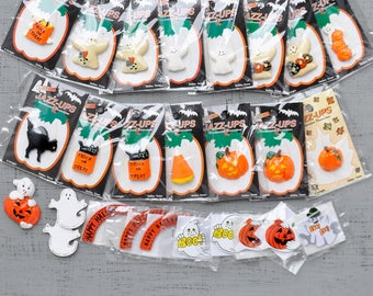 Halloween Jazz-Ups Embellishments - 26 flat back resin and wood cabs - ghosts, pumpkins, black cats, candy corn