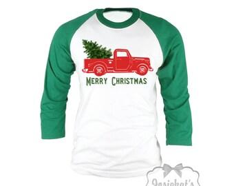 Christmas Tree Red Truck Shirt - Pickup Truck Tree Shirt - Merry Christmas Baseball Shirt - Retro Adult Unisex S M L Xl 2Xl 3X Men Women