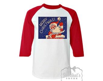 Christmas Shirt - Santa Party Shirt -  Christmas Baseball Red Shirt - Merry Christmas Womens Santa - Retro Adult Unisex S M L Xl 2Xl 3XL