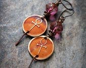 Mystical Ankh. Symbol of Life. Ancient Egypt inspired earrings. Bronze charms, Czech glass. Solid copper. Boho Earrings.