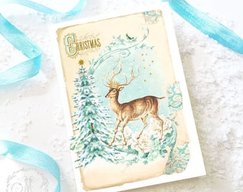 Deer Christmas card, Christmas tree, winter woodland with reindeer, French vintage style, blank inside
