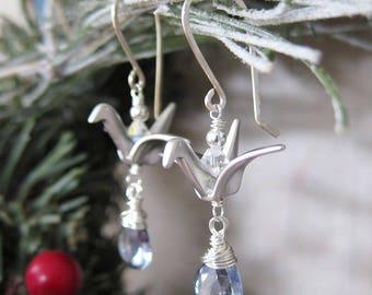 Lucky Cranes Earrings 2017 - Silver Bird Origami Earrings with Blue Quartz