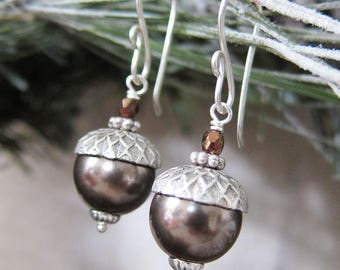 Acorn Charm Earrings in Winter Silver