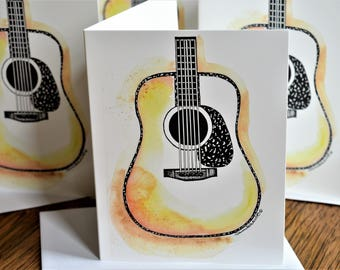 Handmade, Acoustic Guitar, Blank Cards, Guitar Cards, Dreadnought Guitar, Dreadnought Cards, Acoustic Cards, Watercolor Guitar, Guitar Print