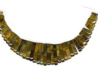 Gemstone Graduated Collar, Brown Tigers Eye Maxi Cleopatra Collar Fan 41pc Stick Bead Pendant Set 5175