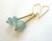 Natural Blue Aquamarine Drop Link Earring in Gold Vermeil...