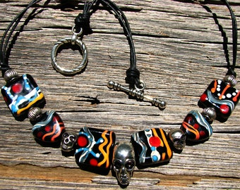 Skull Necklace Handmade Lampwork Glass Beads and Skulls Black Orange Red SRA
