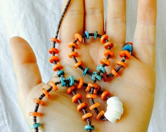 Santo Domingo Pueblo 2 Strand Turquoise and Shell Heishi Necklace. Native American