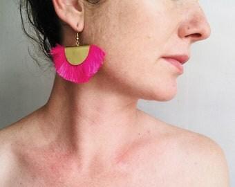 Pink Fan Tassel Earrings. Thai Beach Style.