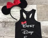 Girls Disney Mickey Ears Best Day Ever tank top shirt Reveal Surprise Gray Black Red Gray Kids Girls Children's Sibling set TSLM
