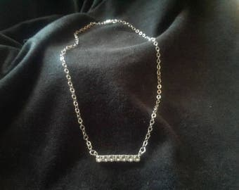Modern, Clear, Swarovski Crystal Bar Necklace with magnetic clasp