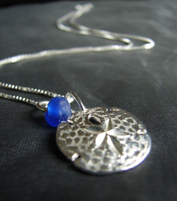 Little Sand Dollar sea glass necklace in cobalt blue