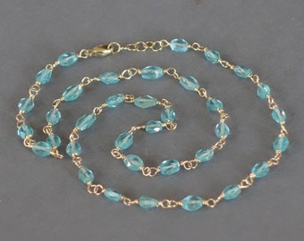 14k Gold Apatite Necklace, Wire Wrapped Apatite Necklace