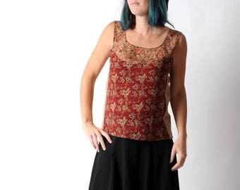 Floral silk tank top, Sleeveless summer top in red and camel brown floral silk and jersey, Summer clothing, Womens tops, MALAM, size UK14