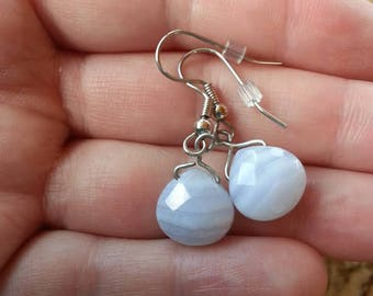 Light Blue Striped Agate Earrings, Faceted,  Dangle Earrings, Gemstone, Crystal, Briolette,  Wire Wrap, Jewelry Making, Collecting, Mineral