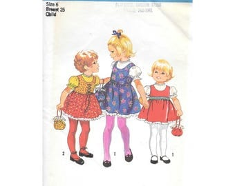 Vintage Girls Dress Jumper Blouse Sewing Pattern Size 6 Simplicity 9684