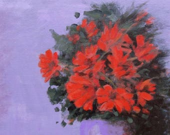 Red flowers Purple background Original painting on canvas Still life 11 x 14 Ready to hang Foust Handmade Flowers painting