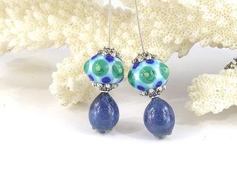 sra artisan lampwork glass headpins set flameworked pattylakinsmith patty Lakinsmith matched pairs blue white green handmade