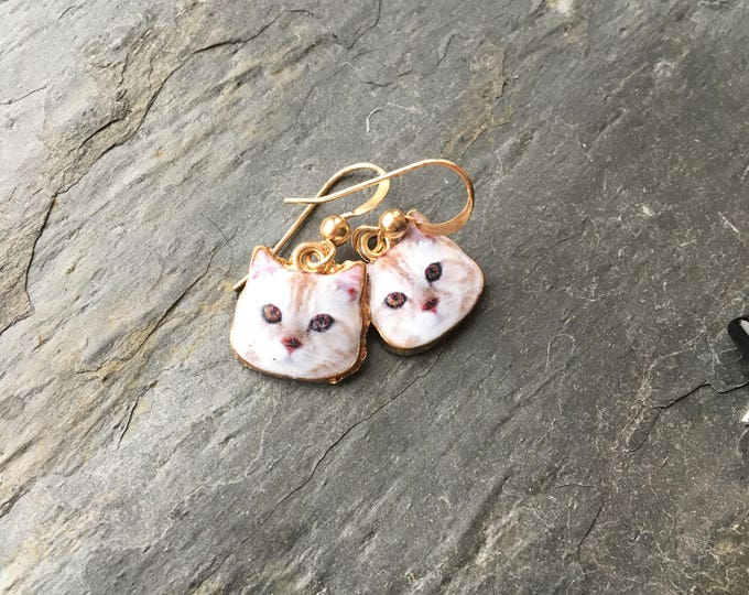 Cat Face Earrings with Gold Filled Earwires Donation to Angel Of Hope Animal Rescue Minnesota