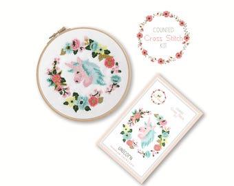 Counted Cross Stitch Kit - Unicorn / unicorn cross stitch pattern, craft kit, embroidery, nursery decor, gift, floral, baby gift craft