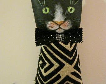 cat art doll , sandy mastroni, cat doll , tuxedo cat, whimsical wall art ,shelf art,